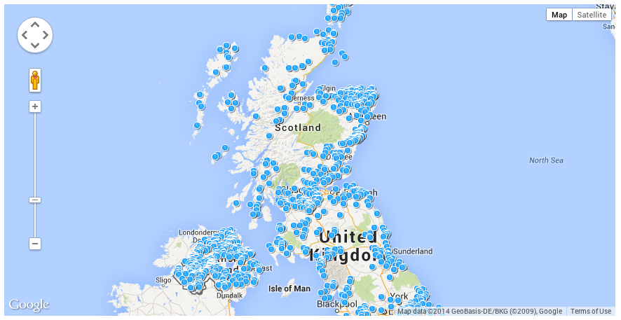 glen this map taken from renewables uk gives you some idea of the wind issue blue dots are wind farms the een sticking out in the n sea is aberdeen