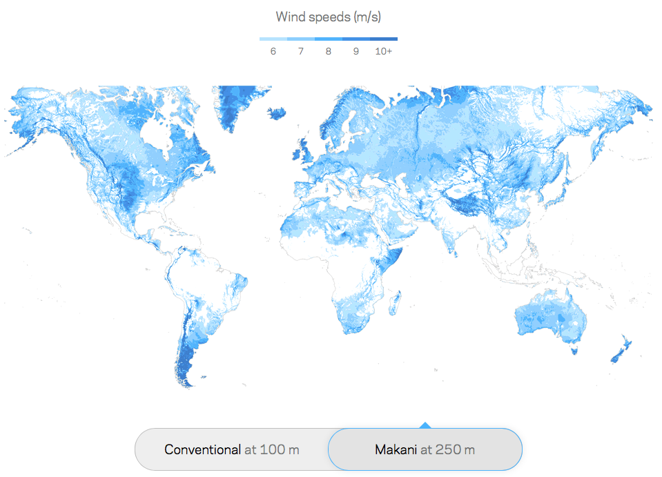 High Altitude Wind Power Reviewed Energy Matters - Map of wind turbines in us